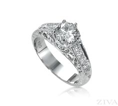 Victorian Ring with Filigree for Round Diamond
