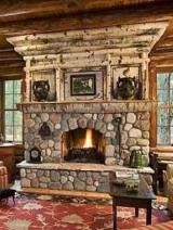 Stone & birch fireplace - could be done with aspen--or lake driftwood