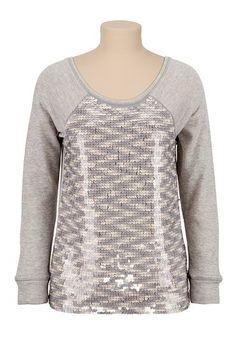 Sequin Front Scoop Neck pullover (original price, $39) available at #Maurices