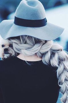 Thick Braid on @kirstenzellers who is wearing her custom-toned Ash Blonde #LuxyHairExtensions. We love her silver hair!