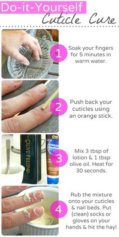 cuticle care... Good I hate when they cut my cuticles off at the salon nail tips, beauty tips, get healthy, olive oils, healthy nails, nail care, cuticl care, beauti, diy