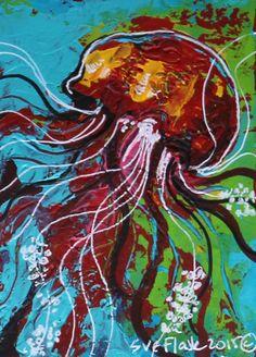 ACEO NFAC Original Acrylic Art Painting Sea Creature Jellyfish ii Sue Flask #Miniature