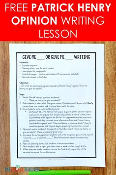 Integrate History and ELA with this free opinion/argument writing lesson inspired by Patrick Henry. Perfect for grade and middle school. 7th Grade Social Studies, Social Studies Notebook, Teaching Social Studies, Education Middle School, Middle School Writing, Writing Lessons, Writing Activities, Writing Strategies, Teaching Us History
