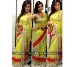 Monika Soni Lemon Green Net Bollywood Saree