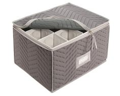 """Stemware Storage Chest -Deluxe Quilted Microfiber (Light Gray) ( 15.5"""" x 12.5 x 10"""") Richards Homewares http://www.amazon.com/dp/B000B1V2AU/ref=cm_sw_r_pi_dp_AlBUub16P49QM"""