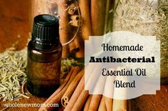 Make your own Homemade Antibacterial Essential Oils Blend - like Thieves Oil. Use for fighting illness, cleaning, and more. Make now to have on hand for the cold season!