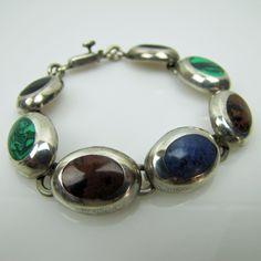 Vintage Taxco Mexico Modernist Sterling Silver Bracelet. Banded Onyx Malachite Lapis & Jasper Bezel Set Gemstones. Taxco Silver Jewelry by MercyMadge on Etsy