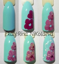 Маникюр пошагово's photos Flower Nail Designs, Colorful Nail Designs, Toe Nail Designs, Tulip Nails, Flower Nails, Nail Art Hacks, Easy Nail Art, Nail Art Modele, Nail Art Fleur