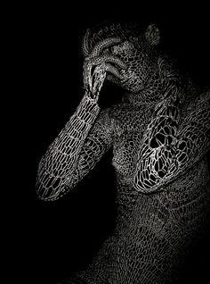 "Saatchi Online Artist: Elena Papaioannou; Black & White, 2008, Photography ""knitting human 2"""