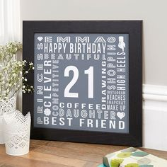 21st Birthday Gift For Her Of Personalised Age Square Print