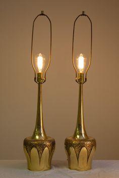 Pair of Laurel LampsMid Century Modern Table by Llewminate on Etsy