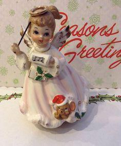 Vintage Josef Originals Christmas Music Box w Girl Angel Silent Night 1950'S