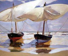 Barche sulla spiaggia. 1915. Olio su tela. 100x120
