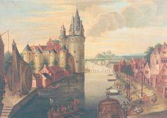 COURTRAI (Belgique) 1651-1700 - Gezicht op 't oud kasteel en de kraan te Kortrijk