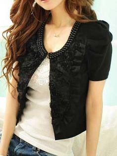 Pearl Embellished Neckline Applique Jacket US$14.99(75% OFF)