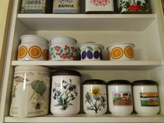 My Pomona cans by Arabia on the middle self. Middle, Canning, Mugs, Retro, Tableware, Vintage, Home, Dinnerware, Tumblers