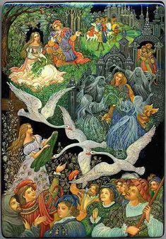 Vera Smirnova, Palekh lacquer box, Swans