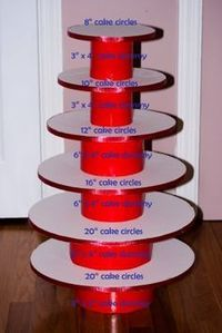 DIY cake stand with cake circles and cake dummies. Cover with wrapping paper to match decor.