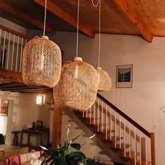 Bamboo Pendant Light, Repurposed Fish Trap Ceiling Lamp, Asian Oblong and Round Woven Bamboo Hanging Lamp, Boho Chinese Lantern / Bamboo Pendant Light, Round Pendant Light, Bamboo Lamp, Ceiling Canopy, Ceiling Lamp, Ceiling Lights, Trap, How To Make Lanterns, Lantern Making