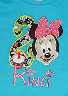 Minnie Mouse appliqued birthday shirt by KenaKreations, $30.00