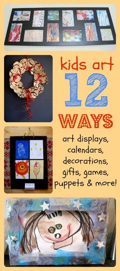 12 great idea for what to do with all your child's paintings - displays ideas,  and how to turn them into toys and gifts. apart design, kid art, kid craft ideas for fundraiser, teaching art, display idea, art displays, parent gifts, child art, learning resources