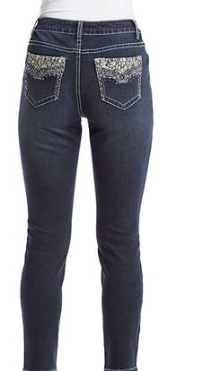 88d2bcdbb7e Woman s EARL JEAN SZ12 Straight Leg Lace Pocket Bling Stretch Sexy Jeans  -NWT s. Skinny Ankle ...