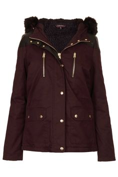 Topshop Fur Trim Short Parka Jacket in AUBERGINE...it IS the new black!!!