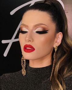 Read information on makeup tips Glam Makeup Look, Red Lip Makeup, Full Face Makeup, Kiss Makeup, Bride Makeup, Eyeshadow Makeup, Wedding Makeup, Makeup Looks, Hair Makeup