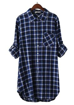 Blue Plaid Print V-neck Long Sleeve Cotton Blouse