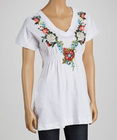Look what I found on #zulily! White Floral Smocked V-Neck Tee by Bella Carra #zulilyfinds