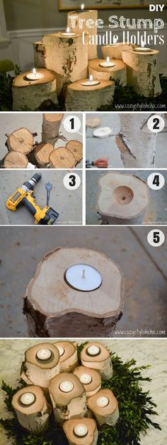 Brilliant rustic easy to make DIY Tree Stump Candle Holders for fall decor Industry Standard Design