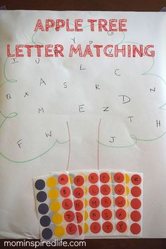Alphabet Activity: Apple Tree Letter Matching. This fun alphabet learning activity works on letter recognition and letter sounds. It also helps develop fine motor skills. Perfect for apple theme or fall theme. #PlayfulPreschool