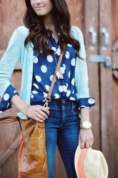 love the polka dots under the cardigan