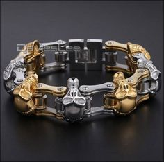 Badass Skull Motorcycle Chain Bracelet 2