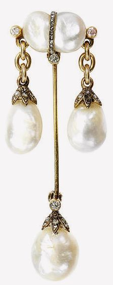 A natural pearl and diamond-set brooch, circa 1900 Designed as a jabot pin, the baroque natural pearl surmount decorated with a rose-cut diamond girdle and three old brilliant-cut diamonds, suspending either side two baroque natural pearl drops via gold chain connectors, the baroque pearl terminal with old brilliant and rose-cut diamond cap, mounted in yellow gold, later pin fitting, length 7.0cm