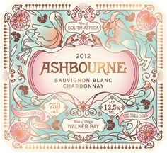 Beautiful wine label designed and illustrated by Pearly Yon for the Ashbourne Sauvignon Blanc.