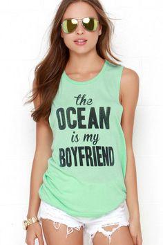 The Ocean is My Boyfriend Mint Green Muscle Tee
