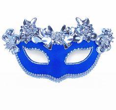 Rhinestone Embellished Royal Blue Masquerade Mask - Fabric Covered Venetian Mask With Metallic Silver Flowers