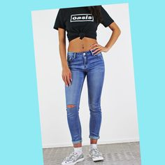 Glamorous So Soft Stretchy Blue Denim Skinny Jeans. With Ripped Knees. Ripped Jeans, Skinny Jeans, Festival Trends, Pink Cadillac, Summer Looks, High Waist Jeans, Boyfriend Jeans, Devil, Blue Denim