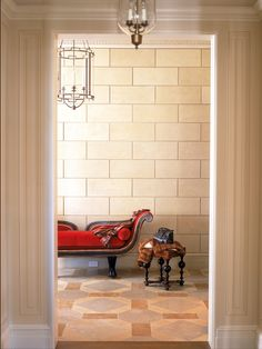 Insanely glamorous foyer in a Chicago co-op by Alessandra Branca. Beautiful tiles.