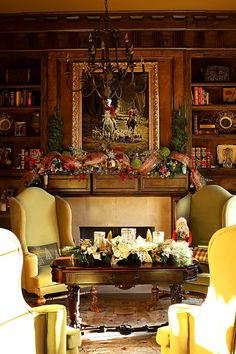 Cozy and Warm . .Love the panel wall and book shelves on each side of fireplace.