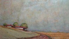 Vintage oil painting field  landscape