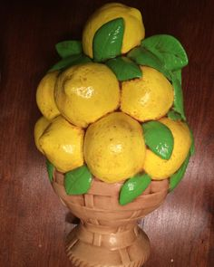 1980's fun ceramic lemon sculpture. Sunny lemons in a basket in all it's vintage glory will brighten up any kitchen. Retro kitchen decor on Etsy, $10.00