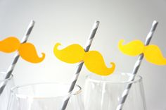 SALE - Photo Booth Props - Mustache Straw Photo Props - Set of 5 - YELLOW Mustaches on GREY Striped Paper Straws. $5.00, via Etsy.