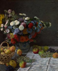 Artist: Claude Monet French Impressionist Master, 1840 – 1926 Title: Flowers and Fruit Completion Date: 1869 Style: Impressionism Oil on canvas Genre: still life , from Iryna Monet Paintings, Impressionist Paintings, Landscape Paintings, Impressionism Art, Claude Monet, Pierre Auguste Renoir, Edouard Manet, Edgar Degas, Monet Poster