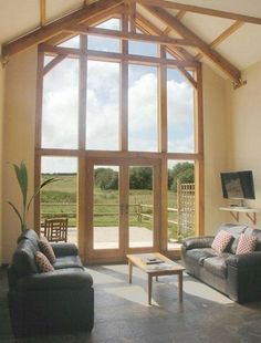 Glass and Oak Gable End Bungalow Extensions, House Extensions, Gable Window, Barn Windows, Living Room Decor, Living Spaces, Self Build Houses, Glass Extension, Barn Living
