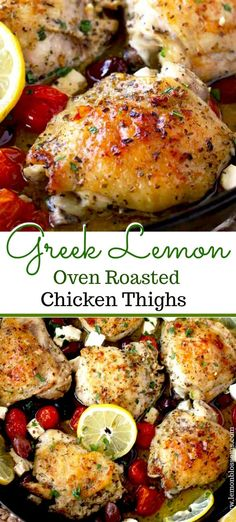 Oven Roasted Chicken Thighs are juicy, tender and absolutely delicious! Chicken thighs are tossed in a simple lemon marinade and oven baked with tomatoes, Kalamata olives and Feta cheese. This easy one pan baked chicken recipe is easy and always a family Chicken Thights Recipes, Oven Chicken Recipes, Simple Chicken Thigh Recipes, Marinade For Chicken Thighs, Roast Chicken Marinade, Greek Chicken Thigh Recipe, Recipes For Chicken Thighs, Delicious Chicken Recipes, Lemon Chicken Thighs