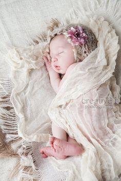 Baby Girl Hat, Newborn Crochet Hat in Light Tan, Cream with Pink Flower Earflap, Great for Photo Prop