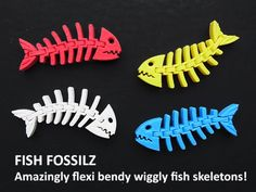 """Fish Fossilz are an amazing one piece print that wriggles, twists and bends in all directions. It's an easy print that only uses about 13gm of filament (with recommended settings).  Fish Fossilz have proven to be hugely popular so, as some people have been using them as a Key Fob (with the key ring through the eye) an additional """"Fob"""" type has been added. This has a fitting at the end of the tail to attach it to the key ring. This should make it less bulky and more visible as a key fob…"""