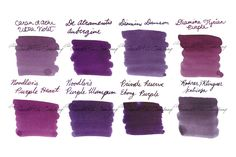 Write in a passionate purple! Our Ink Sample Package - Purples, Muted features eight 2ml samples. The inks included are Caran d'Ache Ultra Violet, De Atramentis Aubergine, Diamine Damson, Diamine Grape, Diamine Tyrian Purple, Noodler's Purple Heart, Noodler's Purple Wampum, and Rohrer & Klingner Scabiosa (iron gall). Pin for later.